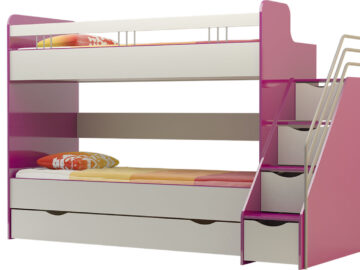 Ліжко двоярусне зі сходами